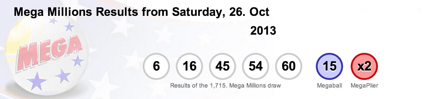 Megamillions results Friday, 25th October