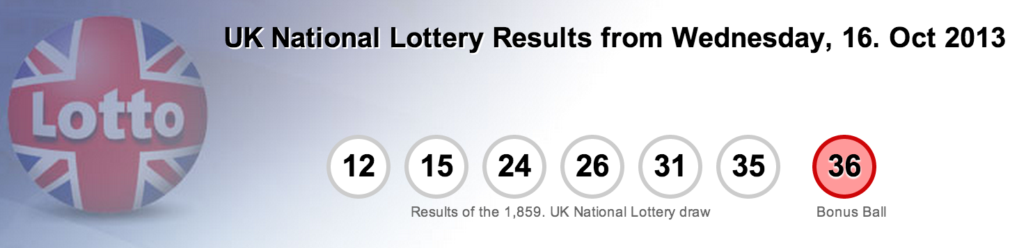 UK National Lottery Results Wednesday, 16th October 2013