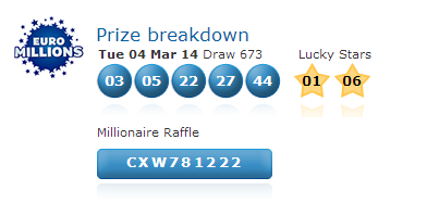 Euromillions lotto results tuesday 4th march