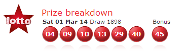 UK National Lotto results Saturday, 1st March 2014