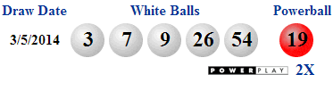 Poewrball winning numbers Wednesday 5th March