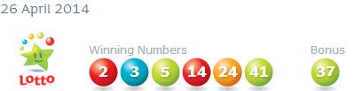 Irish National Lottery Results Saturday 26th April 2014