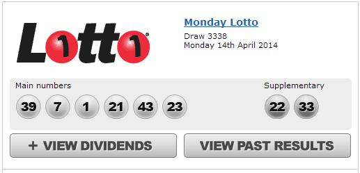 Australia's 'Oz' Lotto Results Monday 14th April 2014