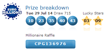 Euromillions Lotto Results Tuesday 29th July 2014