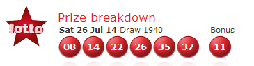UK National Lotto Results Saturday 26th July 2014