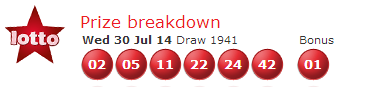 UK National Lotto Results Wednesday 30th July 2014