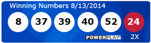 Powerball Lotto Results Wednesday 13th August 2014