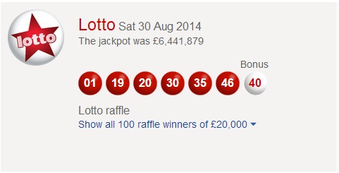 UK National Lotto Results Saturday 30th August 2014