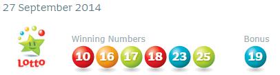 Irish National Lotto Results Saturday 27th September 2014