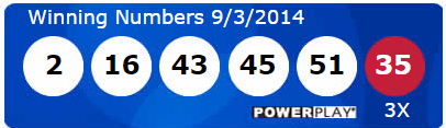 Powerball Lotto Results Wednesday 3rd September 2014
