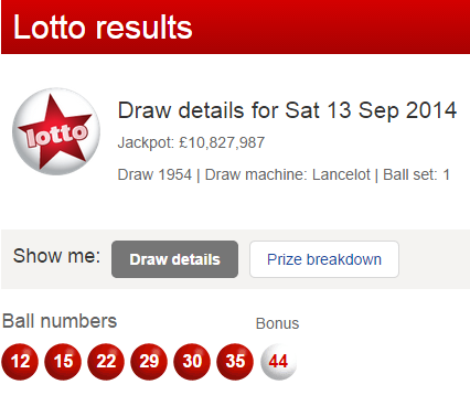 UK National Lotto Results Saturday 13th September 2014