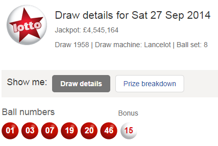 UK National Lotto Results Saturday 27th September 2014