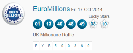 Euromillions Lotto Results Friday 17th October 2014