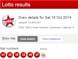 UK National Lotto Results Saturday 18th October 2014
