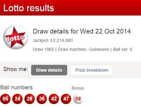 UK National Lotto Results Wednesday 22nd October 2014