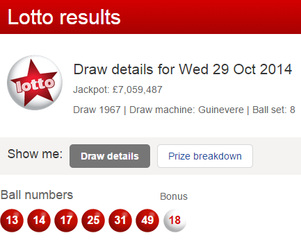 UK National Lotto Results Wednesday 29th October 2014