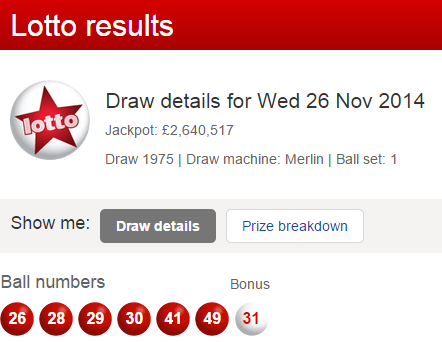 UK Lotto Results Wednesday 26th November 2014