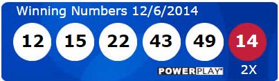 Powerball Winning Numbers Saturday 6th December 2014