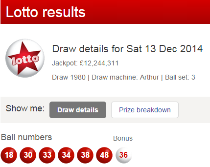 UK Lotto Results Saturday 13th December 2014