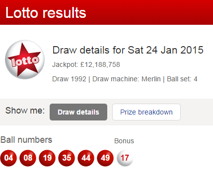 UK Lottery Results Saturday 24th January 2015