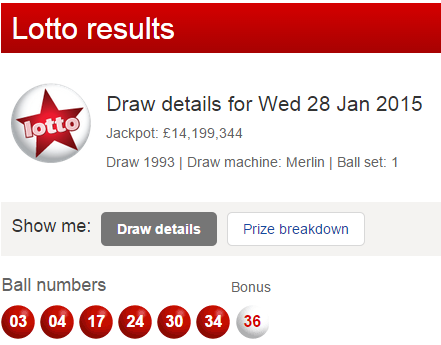 UK National Lottery Results Wednesday 28th January 2015