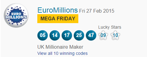 Euromillions Lottery Results Friday 27th February 2015