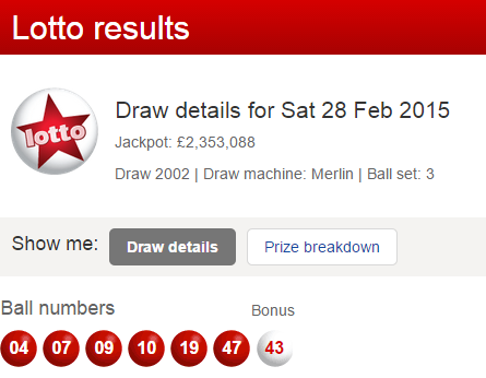 UK Lotto Results Saturday 28th February 2015