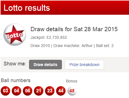 UK National Lottery Results Saturday 28th March 2015