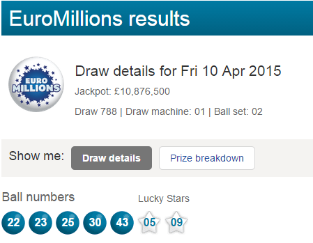 Euromillions Lottery Results Friday 10th April 2015 Lotto Results