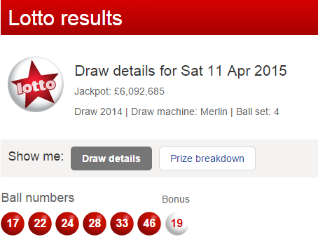 UK National Lottery Results Saturday 11th April 2015