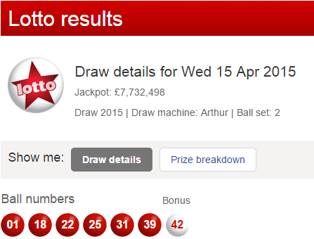 UK National Lottery Results Wednesday 15th April 2015