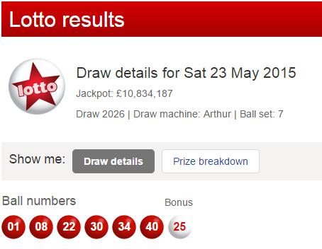 UK National Lotto Results Saturday 23rd May 2015