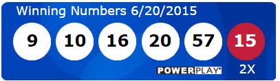 USA Powerball Lotto Results Saturday 20th June 2015