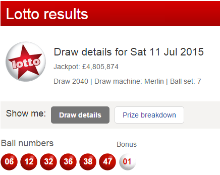 UK Lotto Results Saturday 11th July 2015