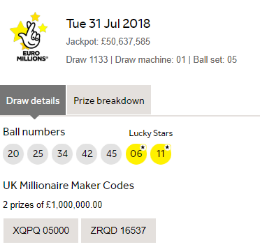 Euromillions national lottery prizes and results