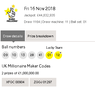 Euromillions Lottery Results Friday 16th November 2018