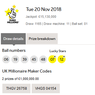 Euromillions Lotto Results Tuesday 20th November 2018