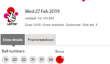 UK National Lottery Results Wednesday 27th March 2019