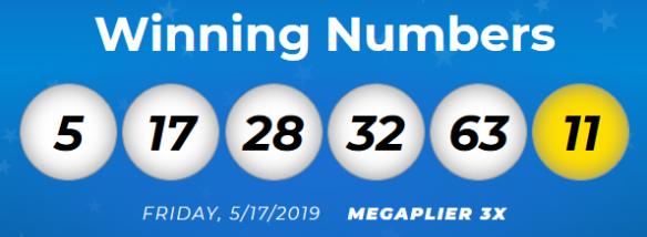 Megamillions Results Friday 17th May 2019