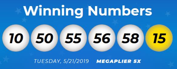 USA Megamillions Lotto Results Tuesday 21st May 2019
