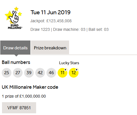Euromillions Results Tuesday 11th June 2019