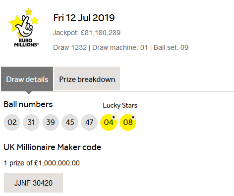 Euromillions Lottery Results Friday 12th July 2019 | Lotto